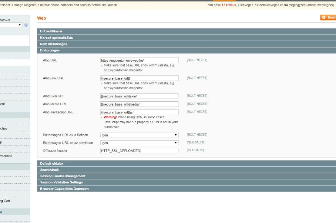 Magento SSL Admin beállítások